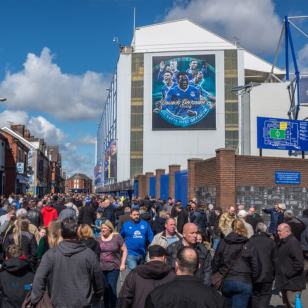 Goodison Park with a crowd of Everton supporters on match day