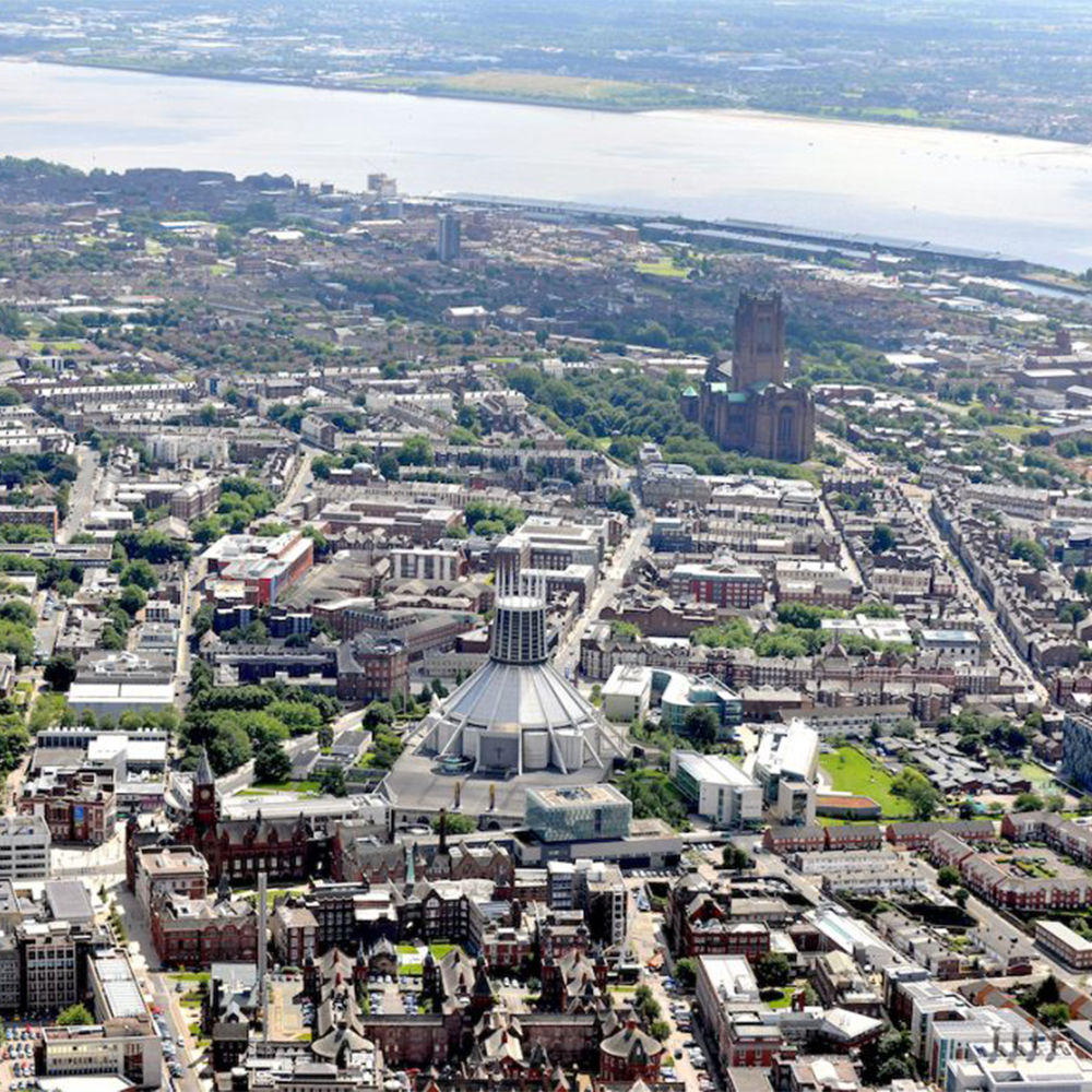 birds-eye shot of the knowledge quarter in Liverpool