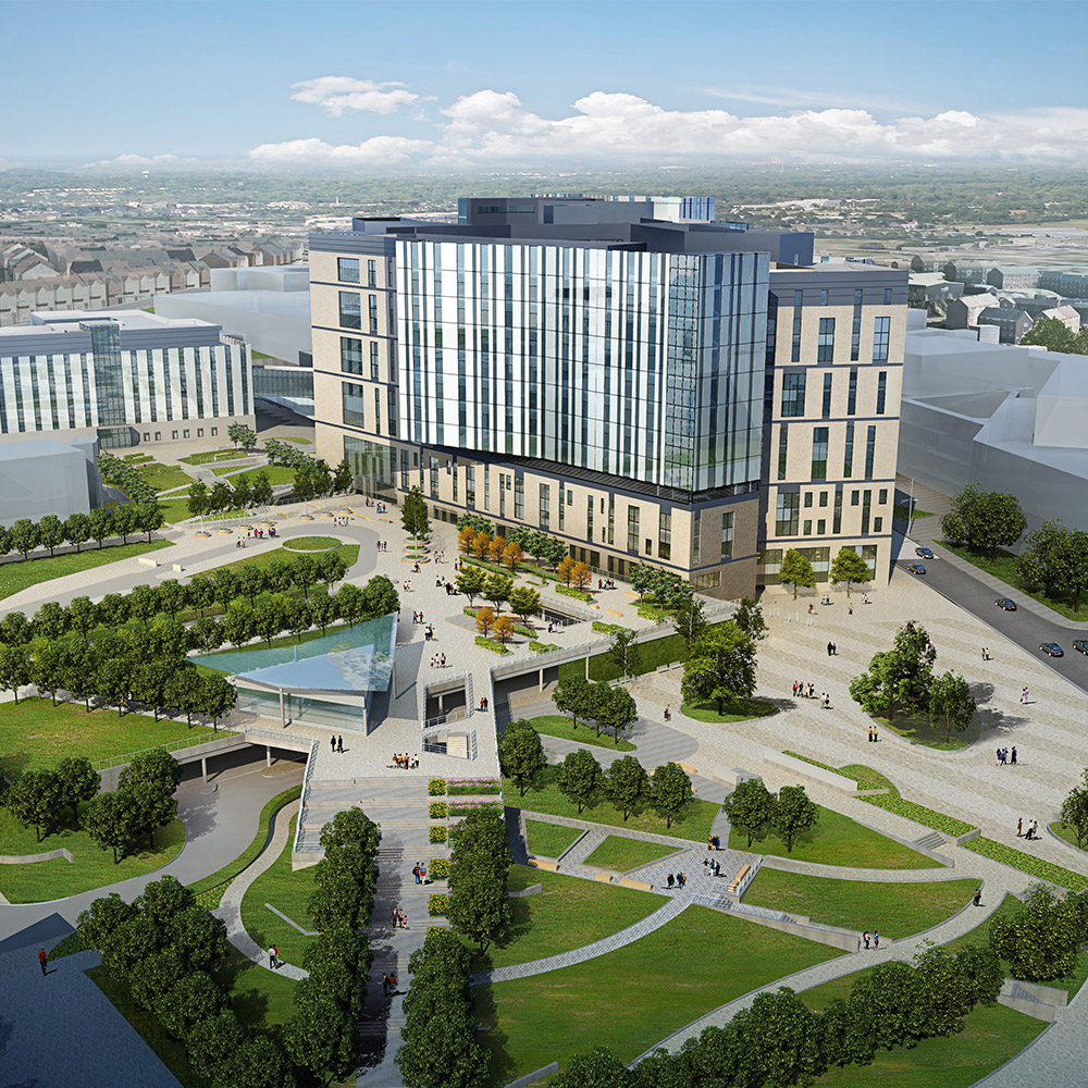 A computer generated image of the new Royal Liverpool hospital